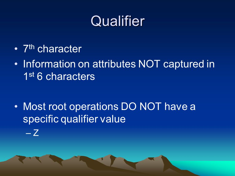 Qualifier 7th character
