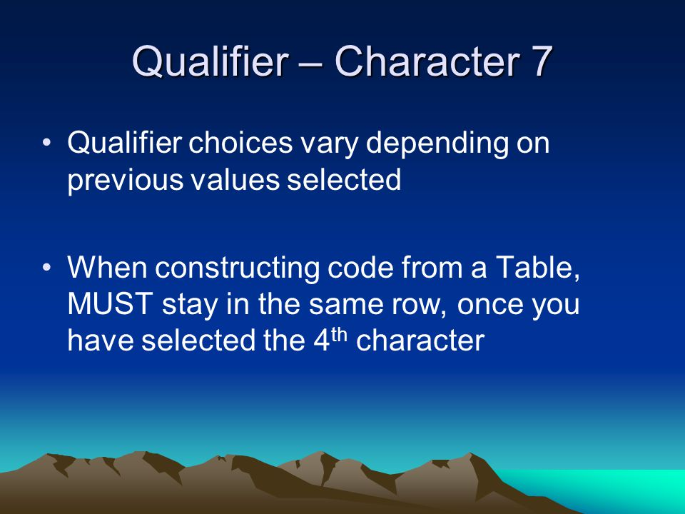 Qualifier – Character 7 Qualifier choices vary depending on previous values selected.