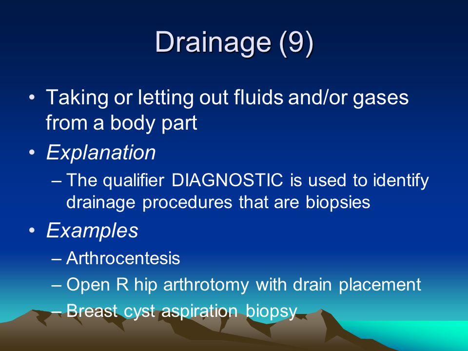 Drainage (9) Taking or letting out fluids and/or gases from a body part. Explanation.