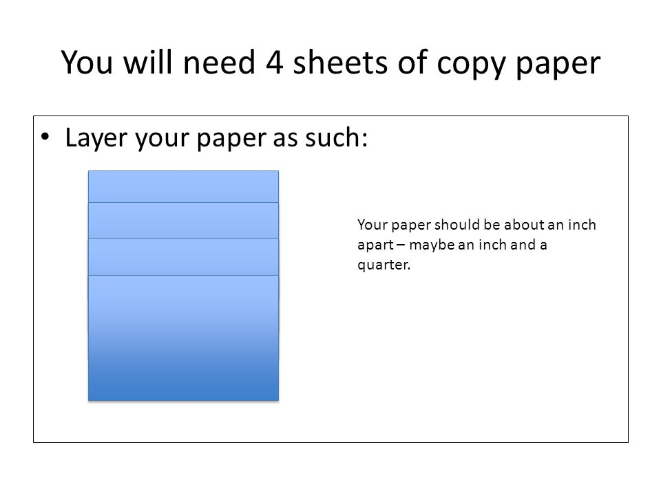 You will need 4 sheets of copy paper