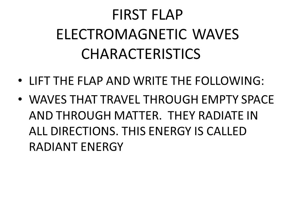 FIRST FLAP ELECTROMAGNETIC WAVES CHARACTERISTICS