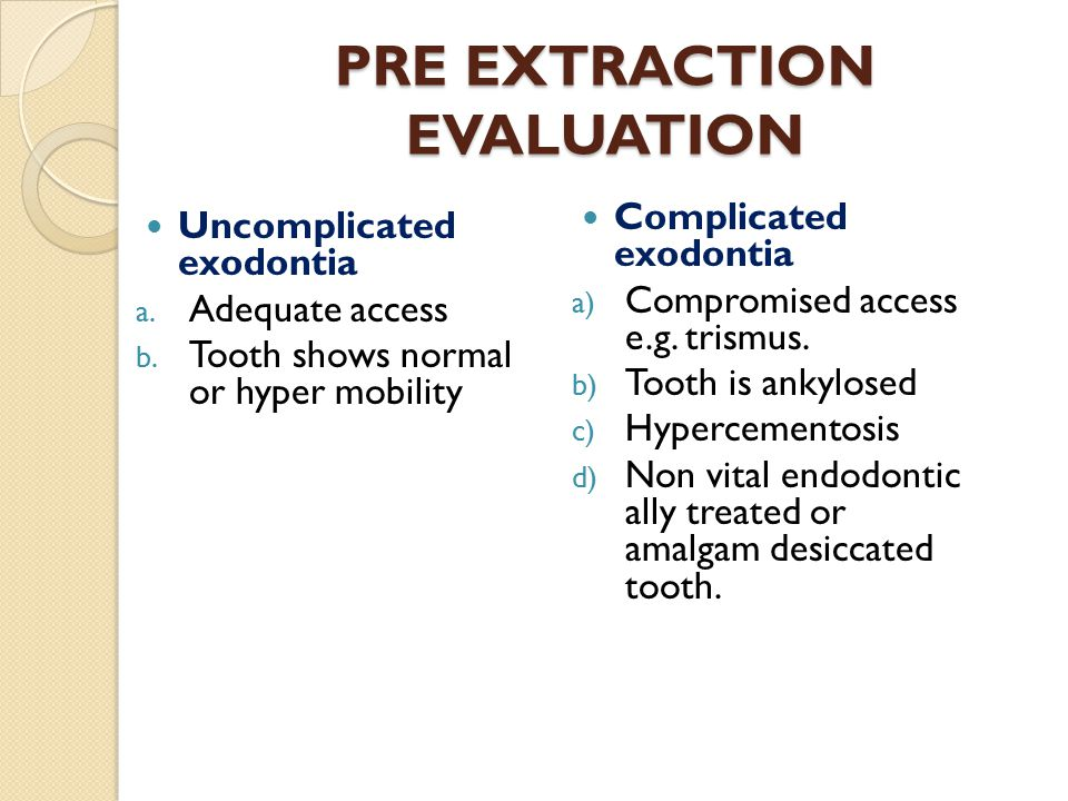 PRE EXTRACTION EVALUATION