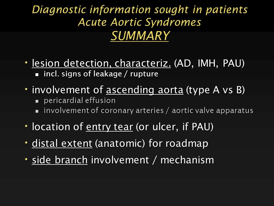 Diagnostic information sought in patients Acute Aortic Syndromes SUMMARY