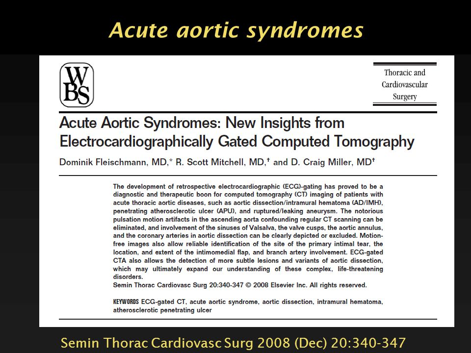 Acute aortic syndromes
