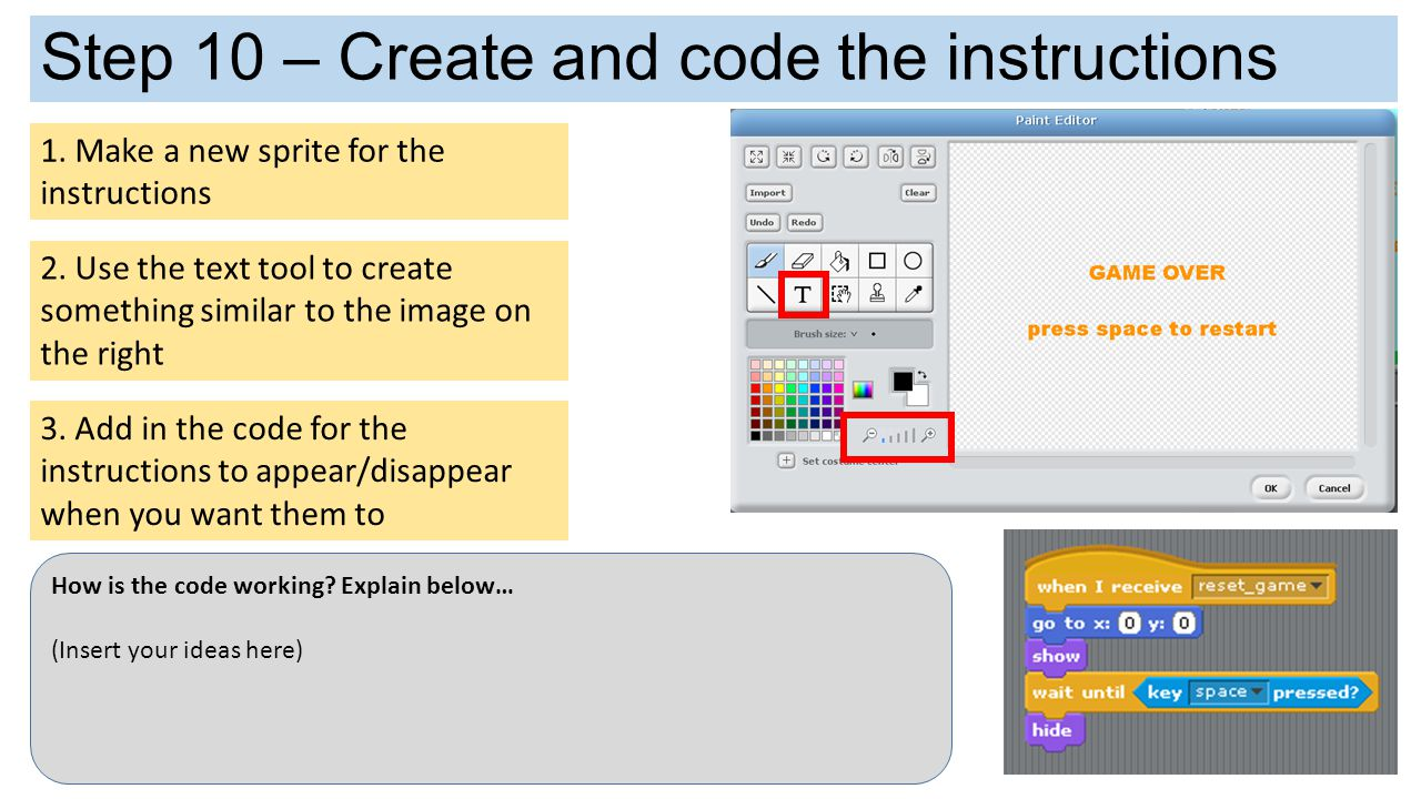 Step 10 – Create and code the instructions