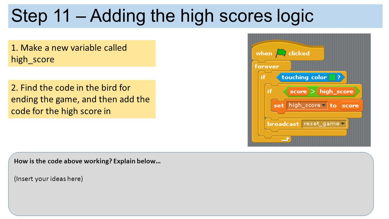 Step 11 – Adding the high scores logic