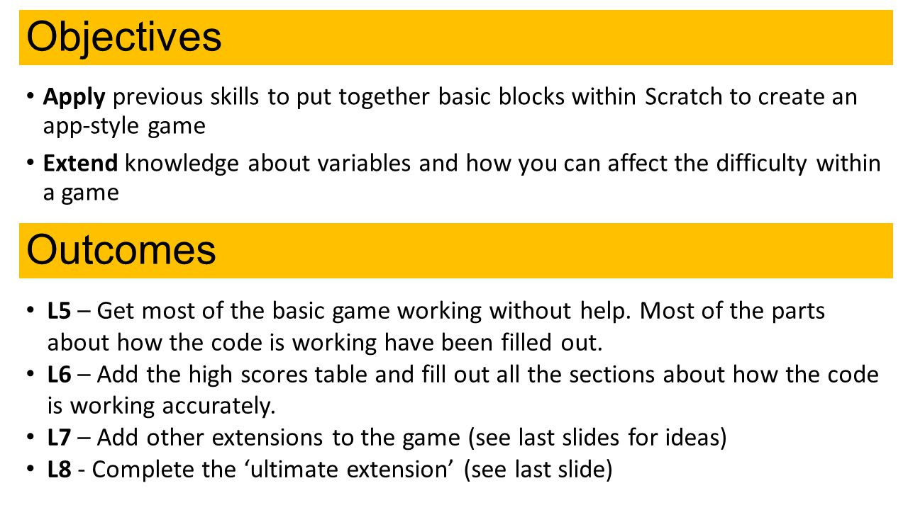 Objectives Apply previous skills to put together basic blocks within Scratch to create an app-style game.