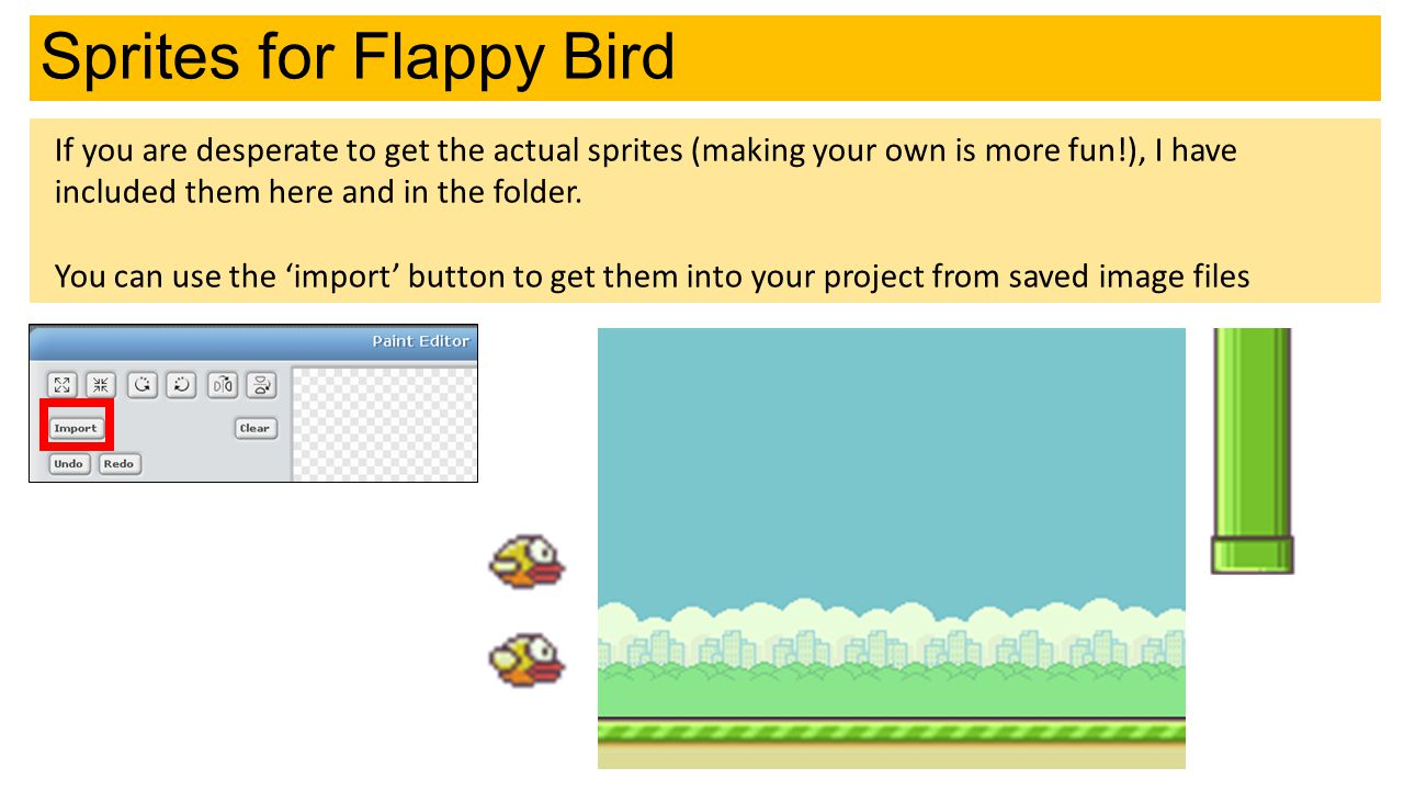 Sprites for Flappy Bird