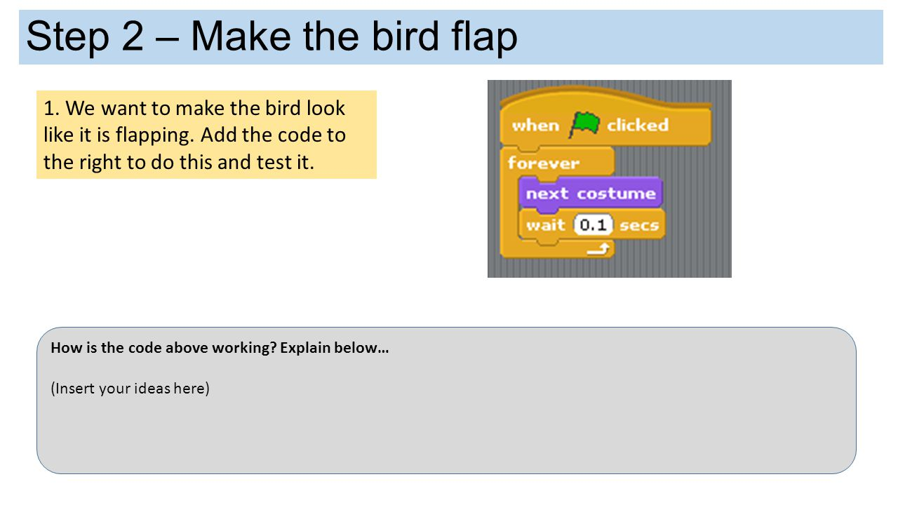 Step 2 – Make the bird flap