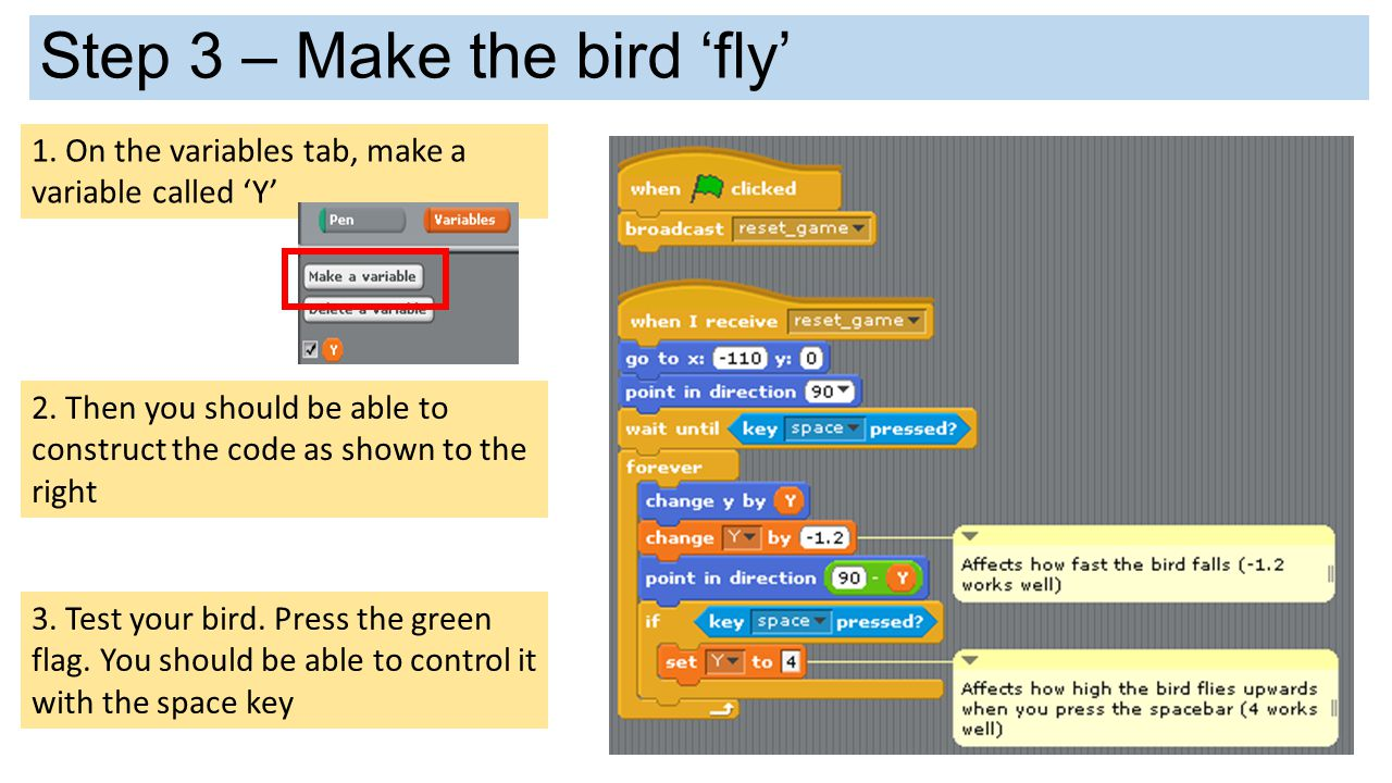 Step 3 – Make the bird 'fly'