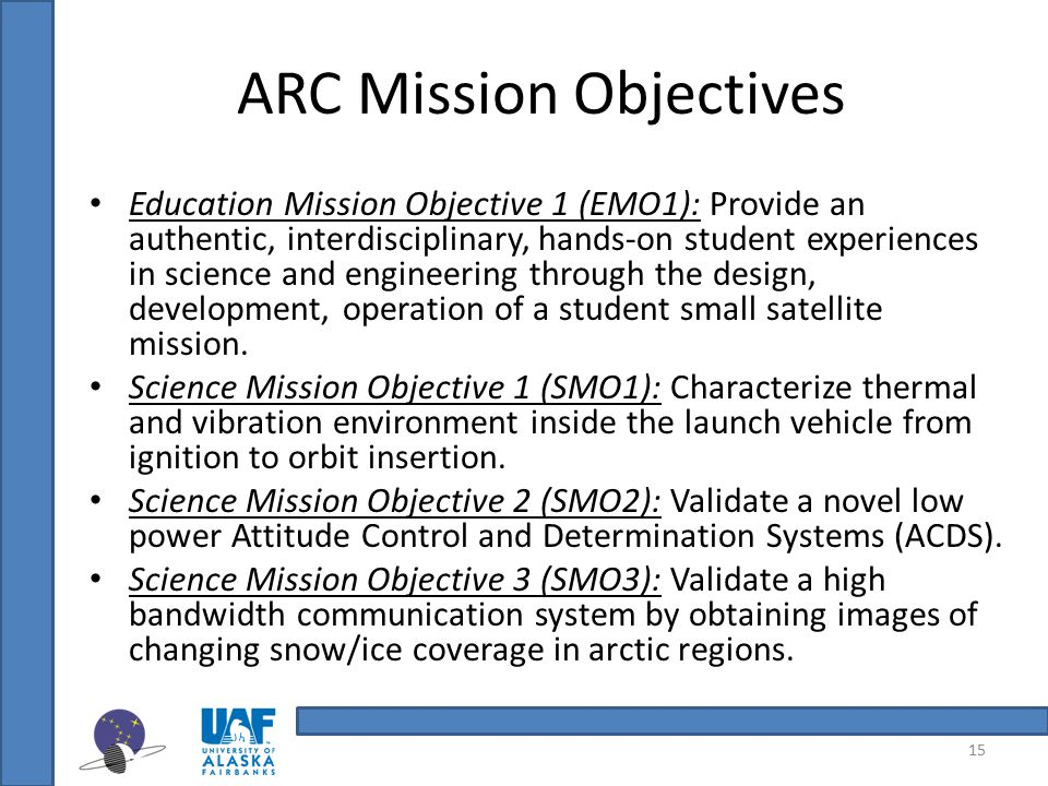 ARC Mission Objectives