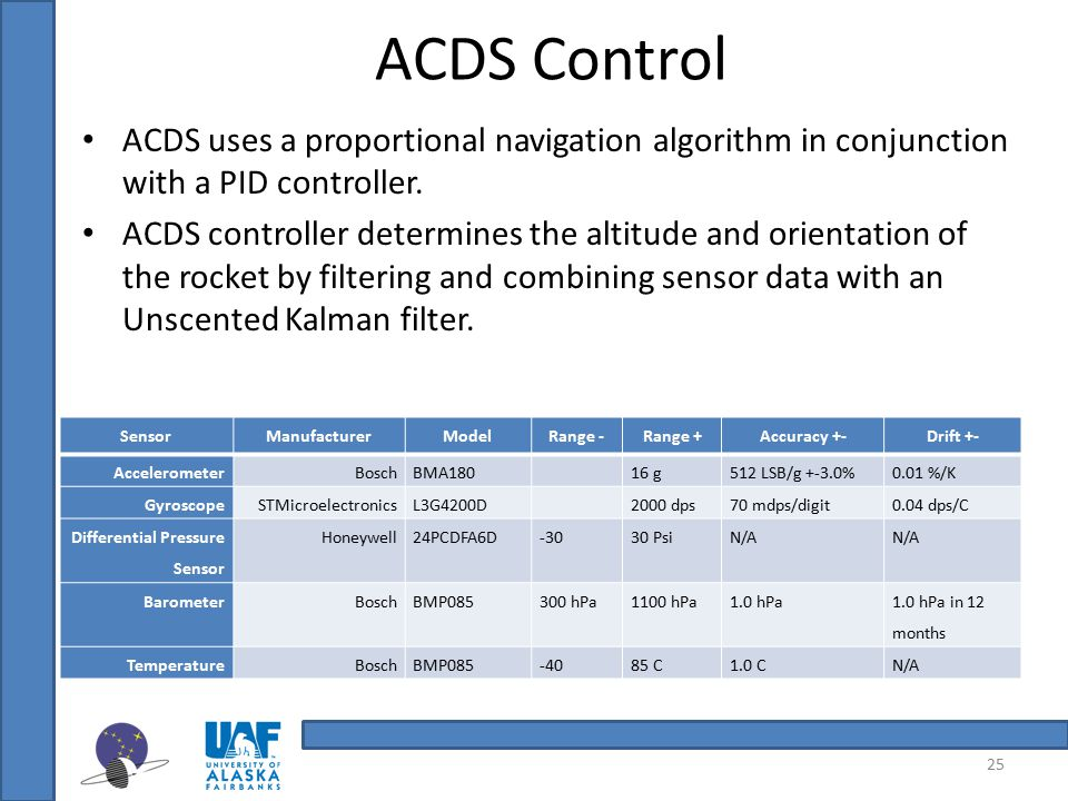 ACDS Control ACDS uses a proportional navigation algorithm in conjunction with a PID controller.