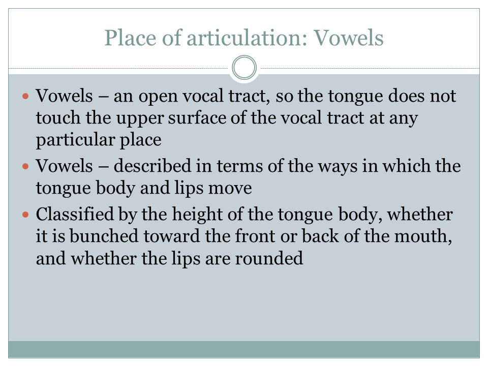 Place of articulation: Vowels