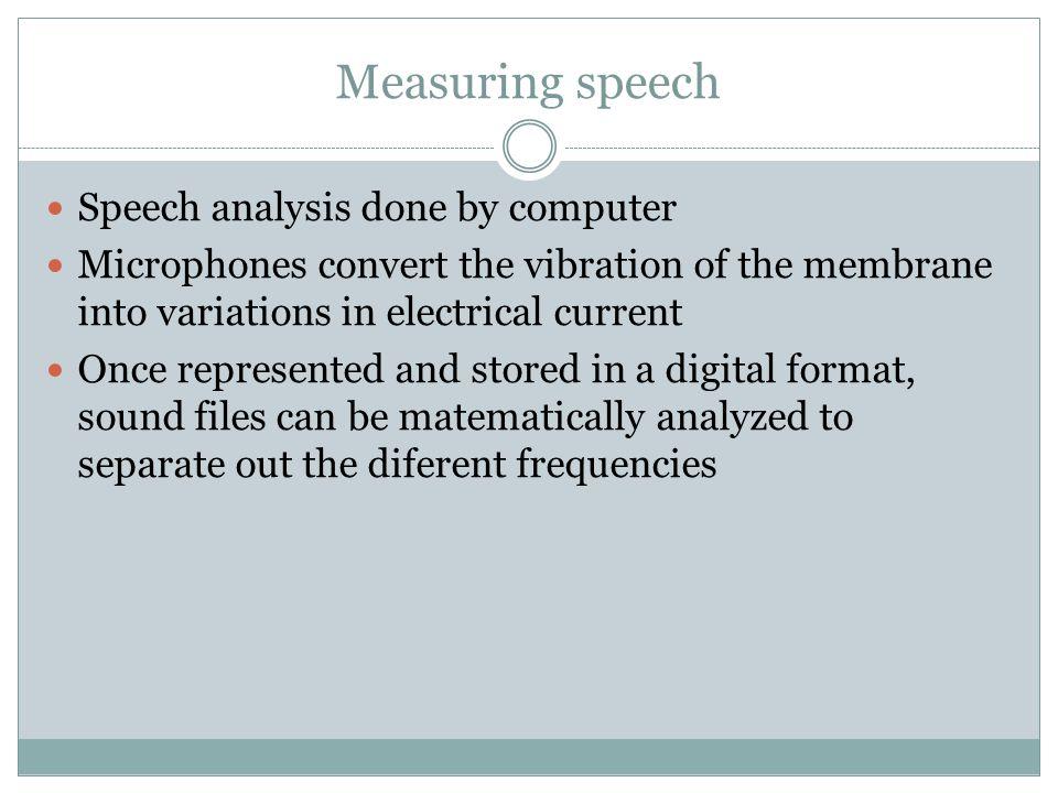 Measuring speech Speech analysis done by computer