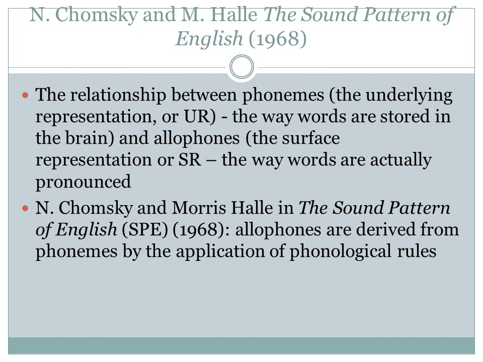 N. Chomsky and M. Halle The Sound Pattern of English (1968)