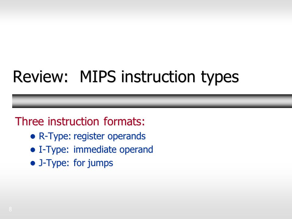 Review: MIPS instruction types