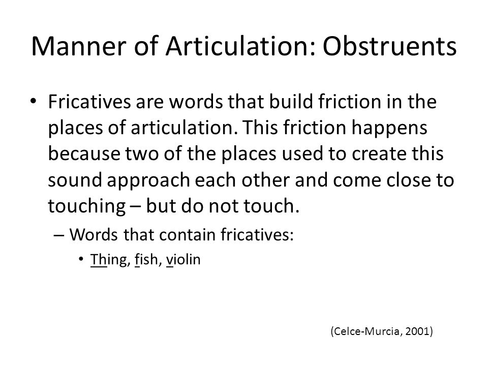 Manner of Articulation: Obstruents