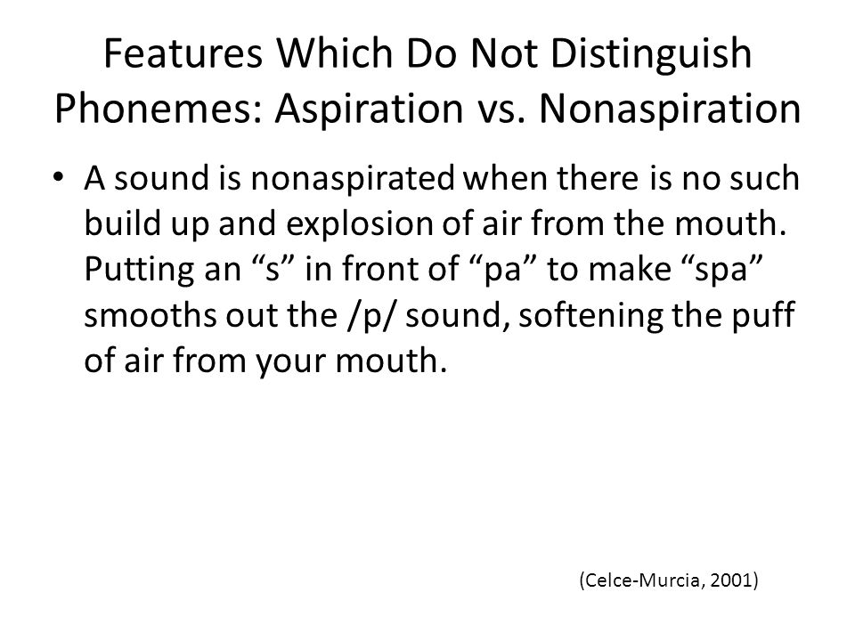 Features Which Do Not Distinguish Phonemes: Aspiration vs