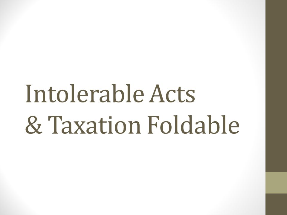Intolerable Acts & Taxation Foldable
