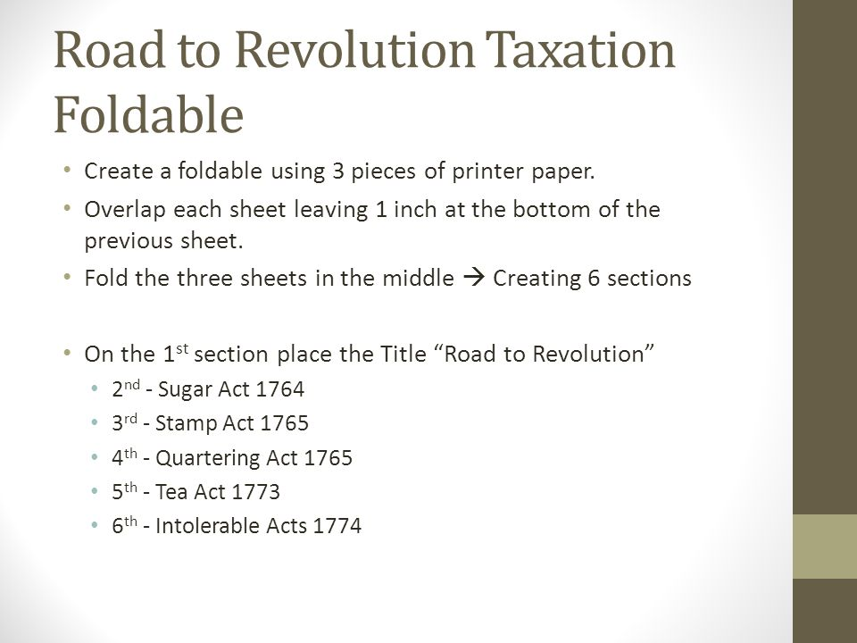 Road to Revolution Taxation Foldable
