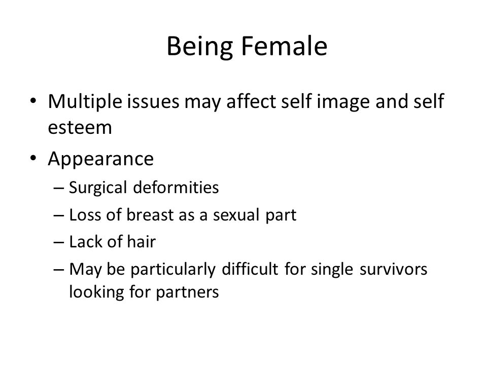 Being Female Multiple issues may affect self image and self esteem