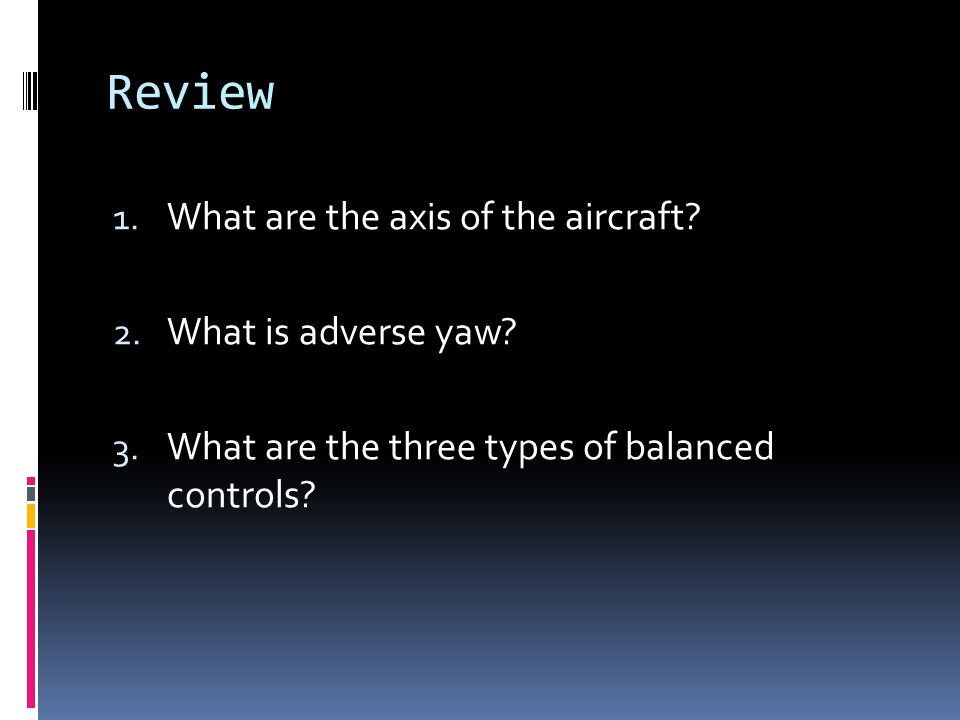 Review What are the axis of the aircraft What is adverse yaw