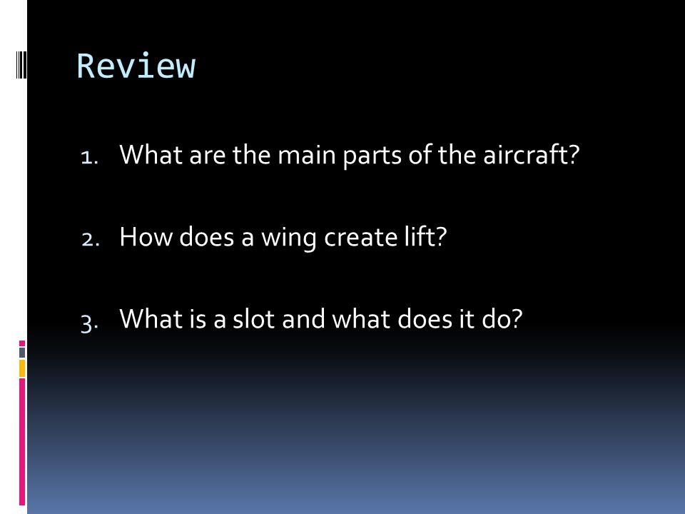 Review What are the main parts of the aircraft