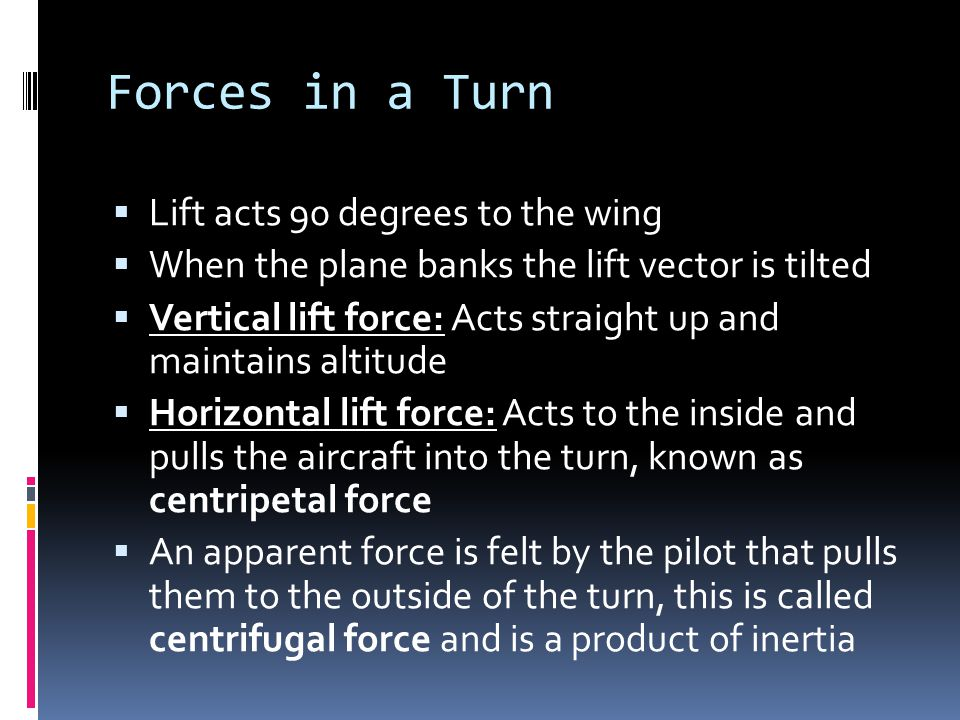 Forces in a Turn Lift acts 90 degrees to the wing