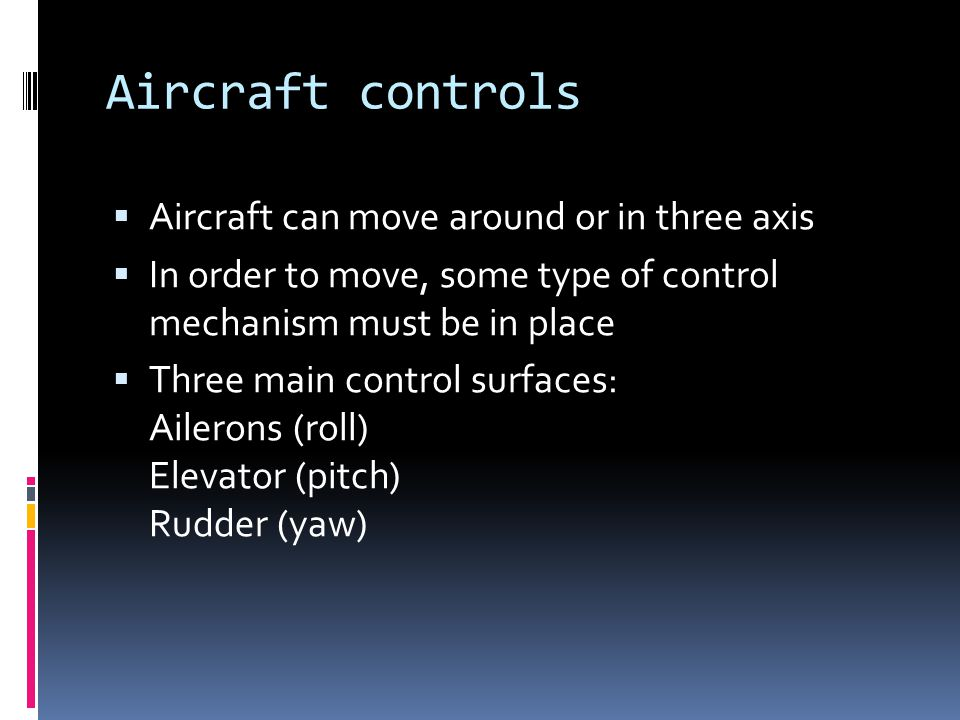 Aircraft controls Aircraft can move around or in three axis