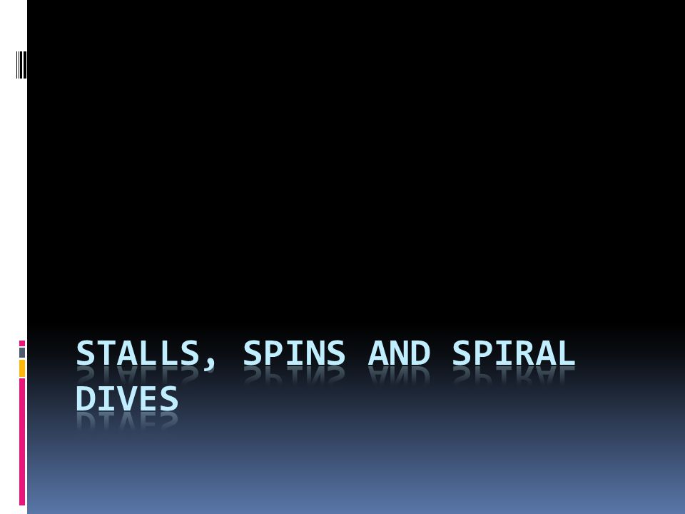 Stalls, Spins and Spiral Dives