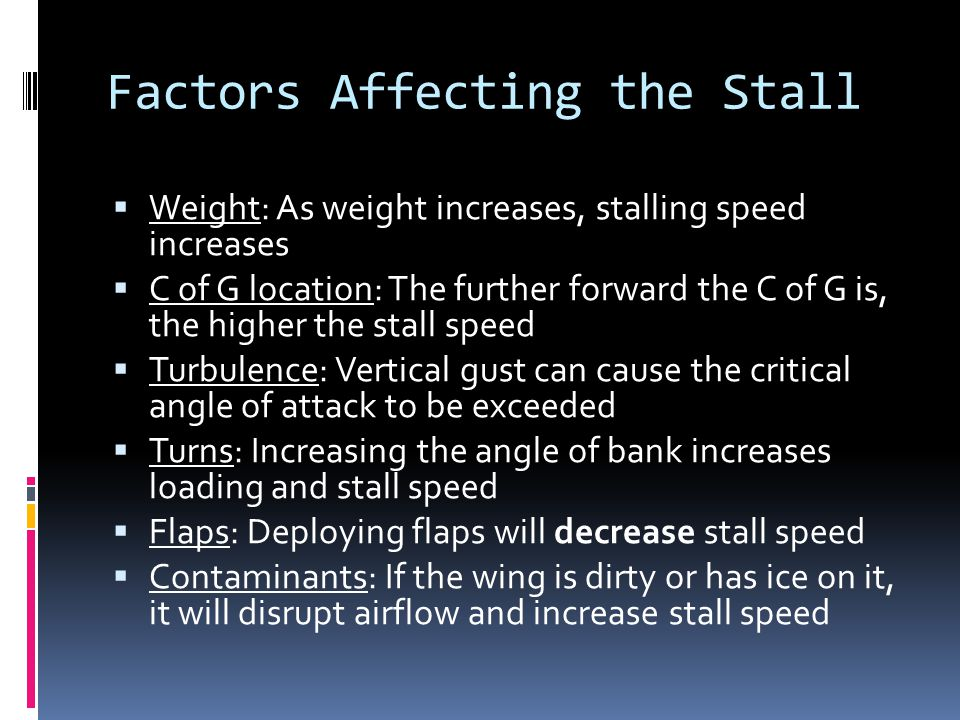 Factors Affecting the Stall