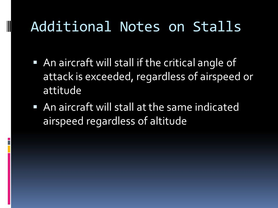 Additional Notes on Stalls