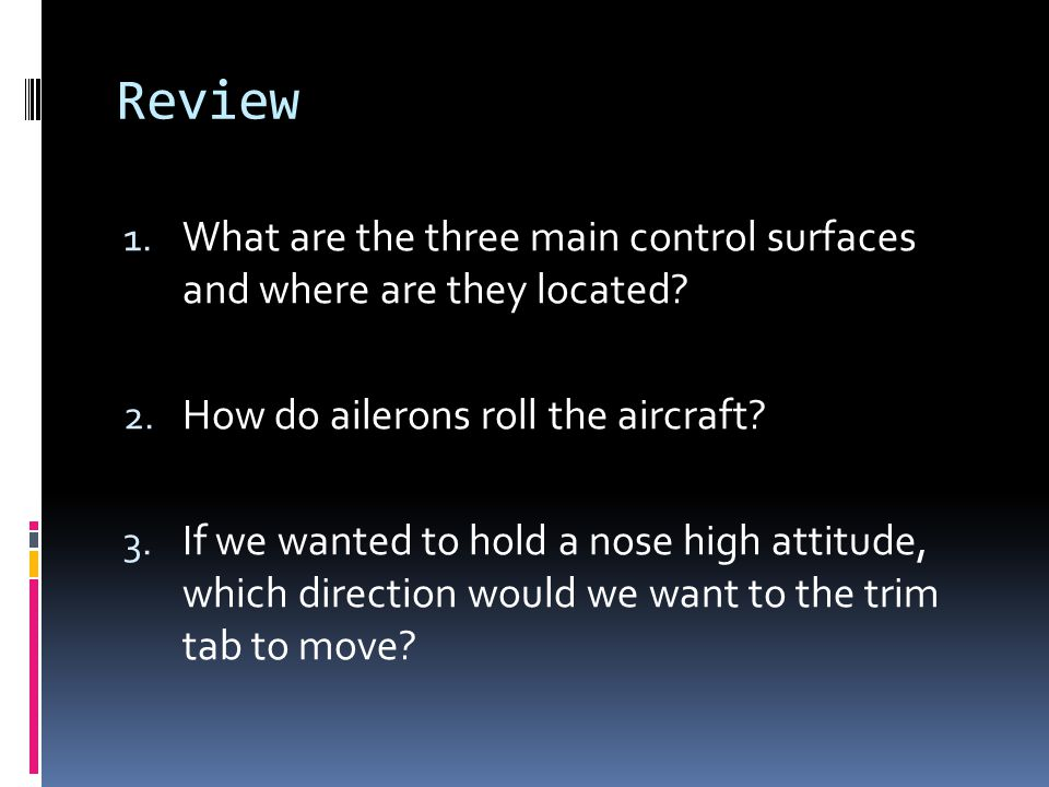 Review What are the three main control surfaces and where are they located How do ailerons roll the aircraft