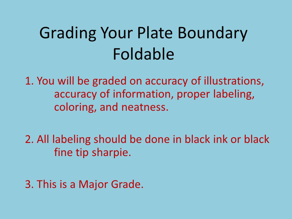 Grading Your Plate Boundary Foldable