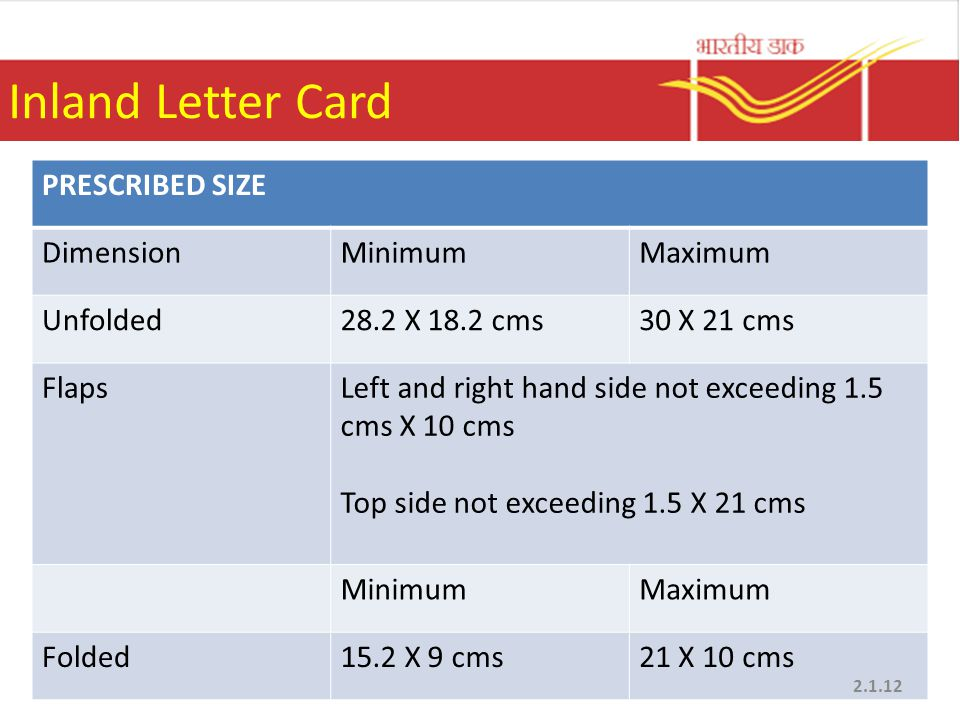 Inland Letter Card PRESCRIBED SIZE Dimension Minimum Maximum Unfolded