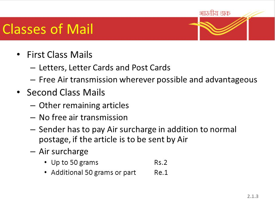 Classes of Mail First Class Mails Second Class Mails