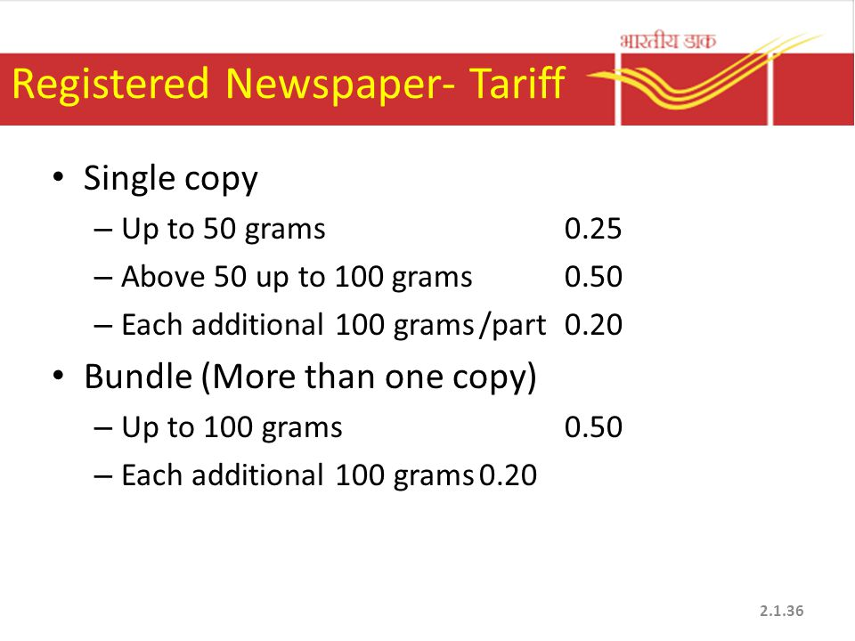 Registered Newspaper- Tariff