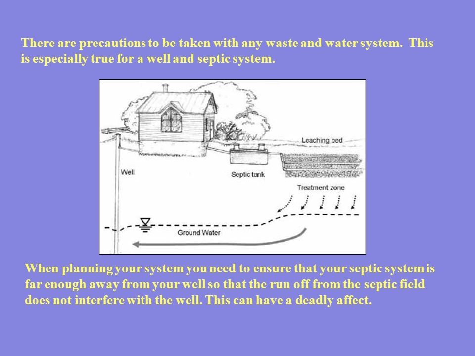 There are precautions to be taken with any waste and water system