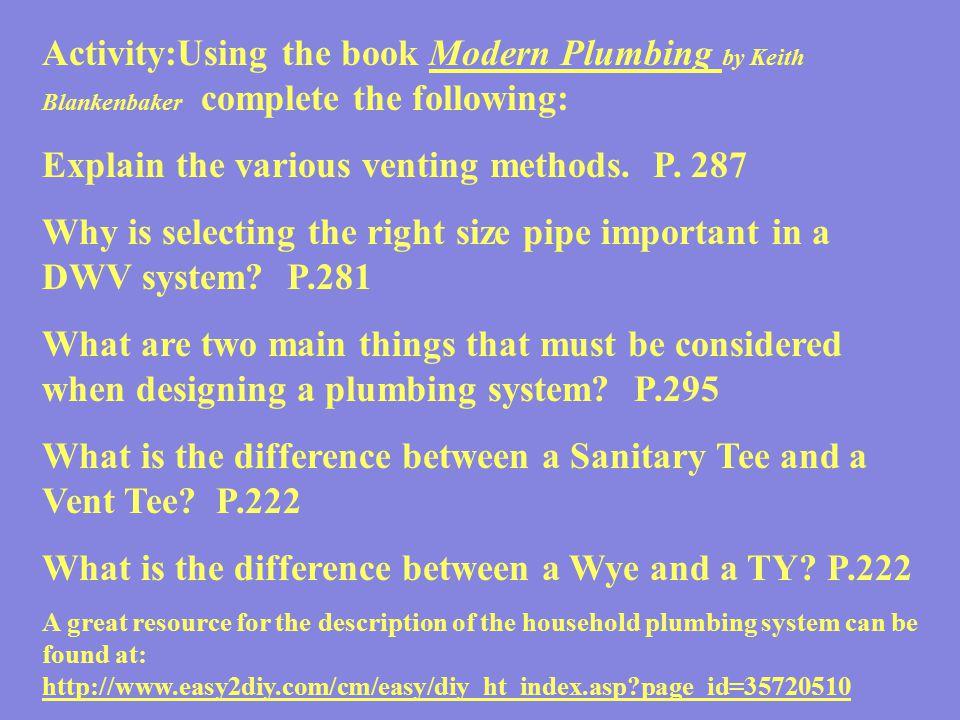 Explain the various venting methods. P. 287
