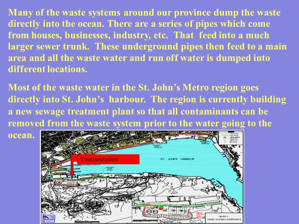 Many of the waste systems around our province dump the waste directly into the ocean. There are a series of pipes which come from houses, businesses, industry, etc. That feed into a much larger sewer trunk. These underground pipes then feed to a main area and all the waste water and run off water is dumped into different locations.