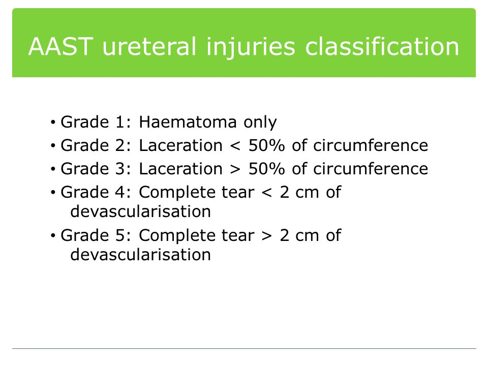 AAST ureteral injuries classification