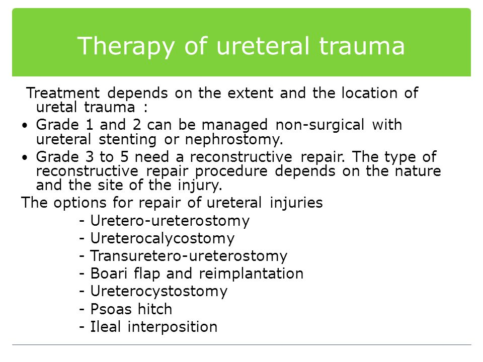 Therapy of ureteral trauma