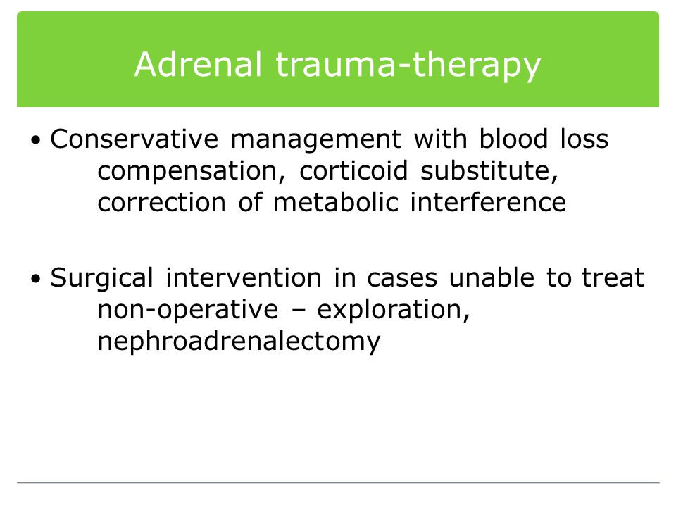 Adrenal trauma-therapy
