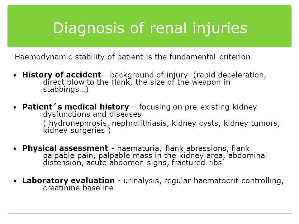 Diagnosis of renal injuries