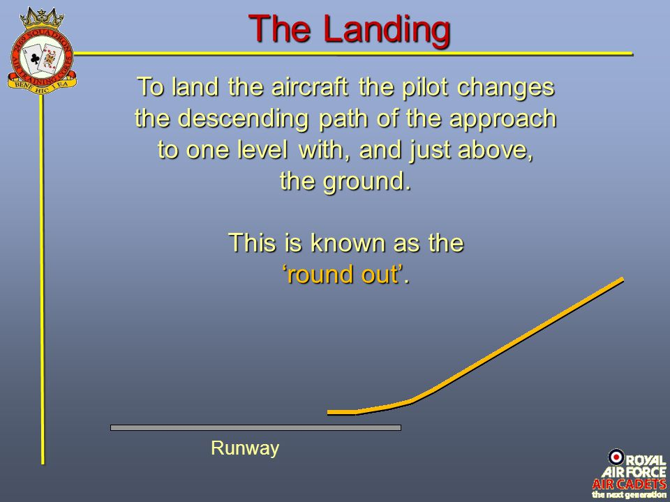 The Landing To land the aircraft the pilot changes