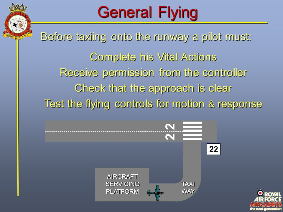 General Flying 2 2 Before taxiing onto the runway a pilot must: