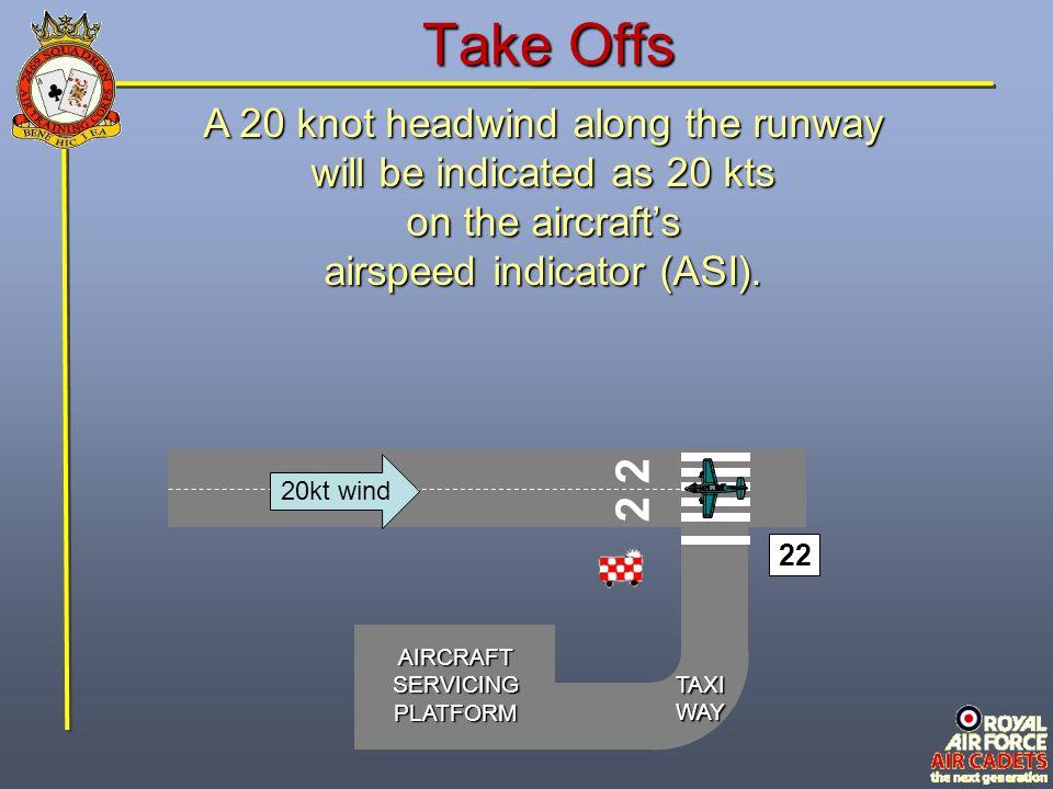 Take Offs 2 2 A 20 knot headwind along the runway