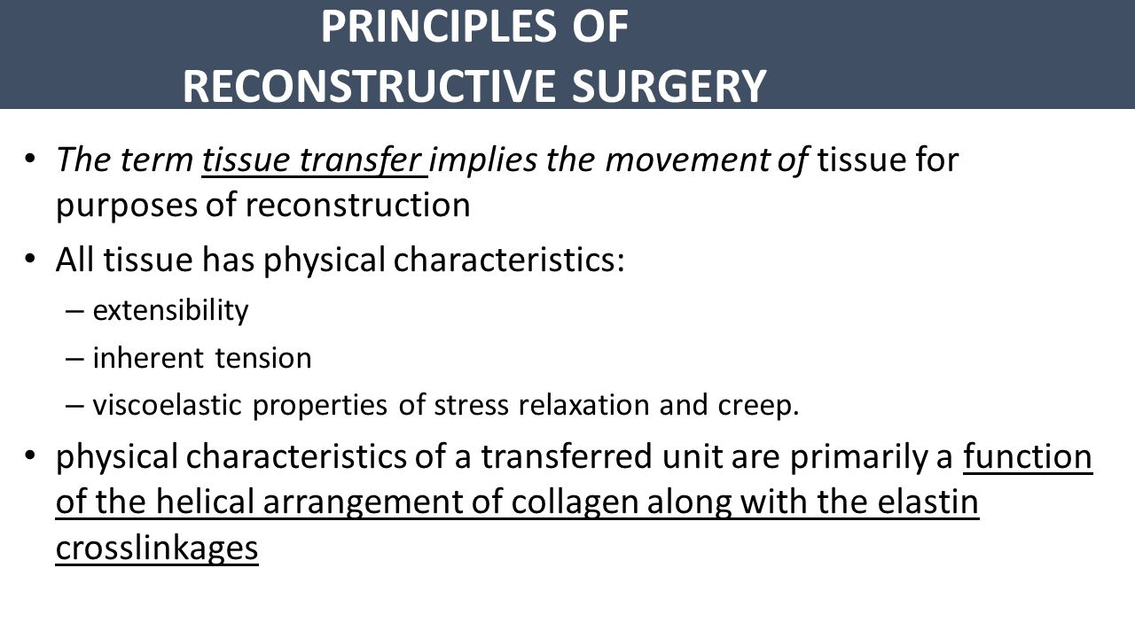 PRINCIPLES OF RECONSTRUCTIVE SURGERY