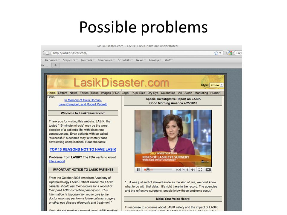 Possible problems http://www.lasikdisaster.com/