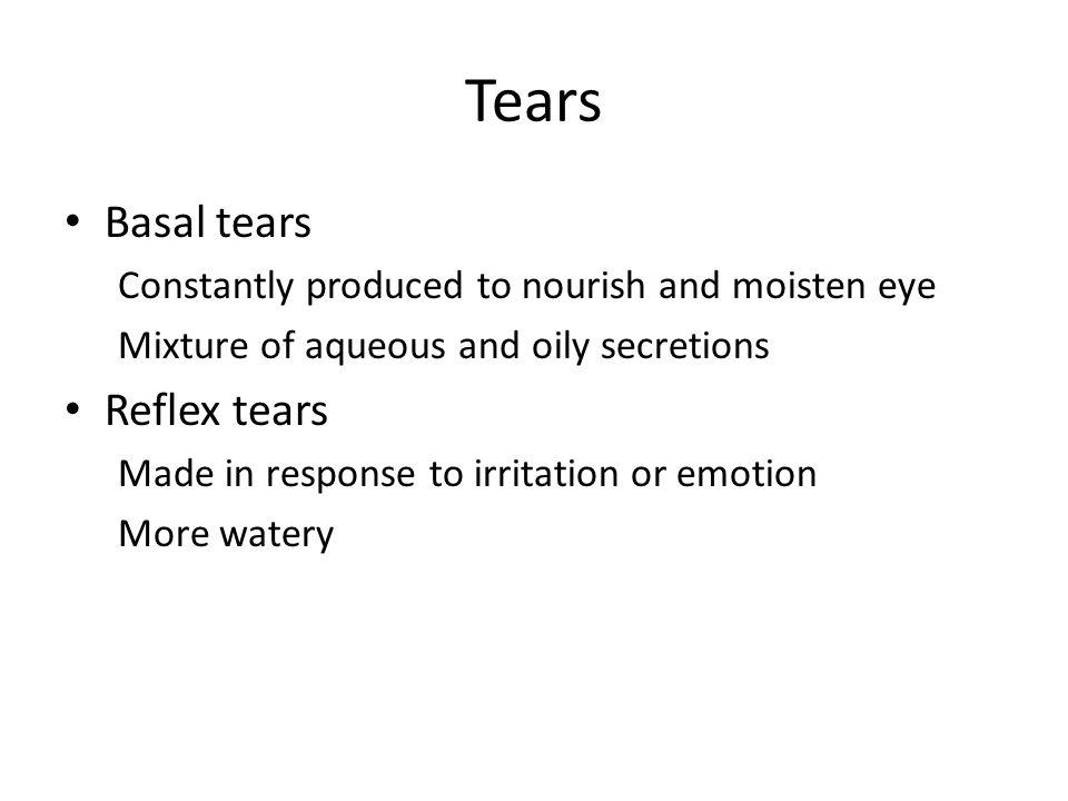 Tears Basal tears Reflex tears